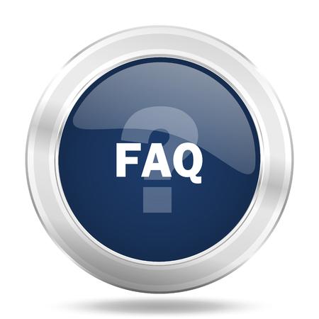 faq icon: faq icon, dark blue round metallic internet button, web and mobile app illustration