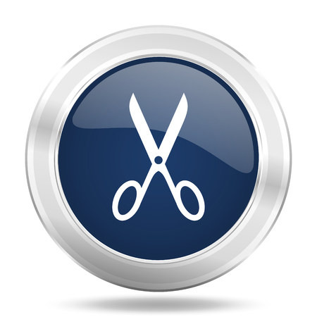 scissors icon: scissors icon, dark blue round metallic internet button, web and mobile app illustration