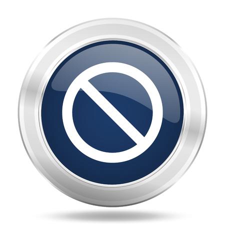 access denied icon: access denied icon, dark blue round metallic internet button, web and mobile app illustration