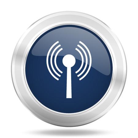 wifi icon: wifi icon, dark blue round metallic internet button, web and mobile app illustration