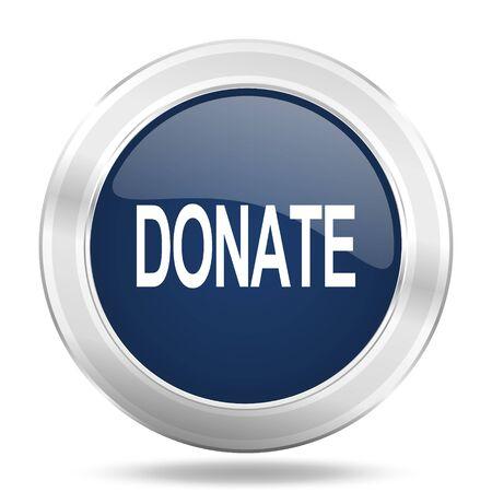 blue button: donate icon, dark blue round metallic internet button, web and mobile app illustration Stock Photo