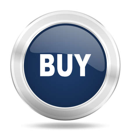 buy icon: buy icon, dark blue round metallic internet button, web and mobile app illustration