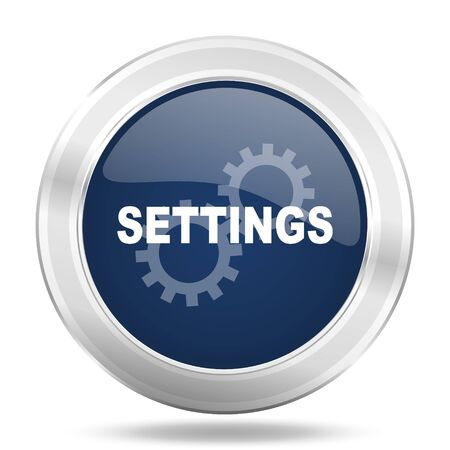 settings icon: settings icon, dark blue round metallic internet button, web and mobile app illustration Stock Photo