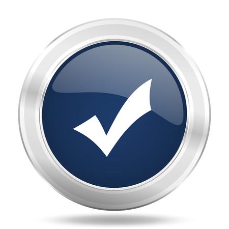accept icon: accept icon, dark blue round metallic internet button, web and mobile app illustration