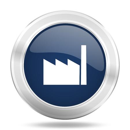 industrialist: factory icon, dark blue round metallic internet button, web and mobile app illustration