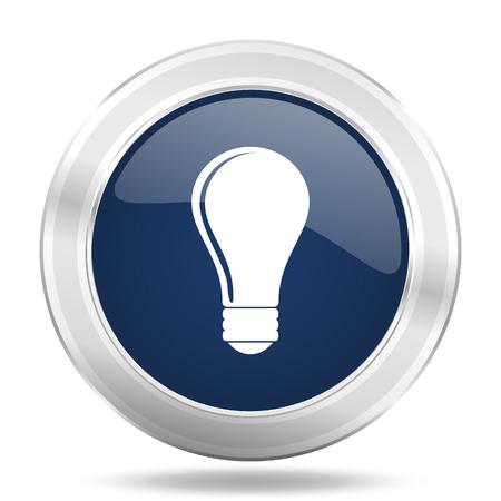metal light bulb icon: bulb icon, dark blue round metallic internet button, web and mobile app illustration