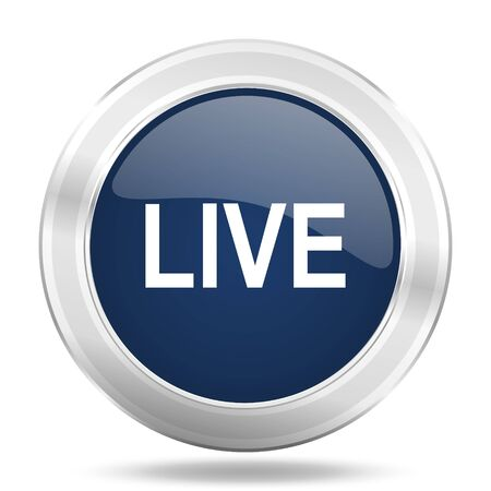 live stream sign: live icon, dark blue round metallic internet button, web and mobile app illustration
