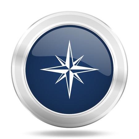 internet explorer: compass icon, dark blue round metallic internet button, web and mobile app illustration