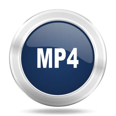mp4: mp4 icon, dark blue round metallic internet button, web and mobile app illustration Stock Photo