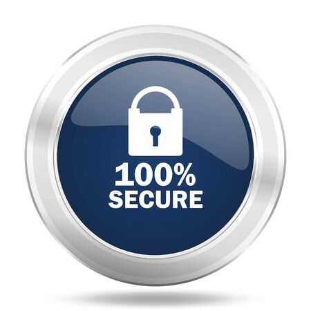 secure icon: secure icon, dark blue round metallic internet button, web and mobile app illustration Stock Photo