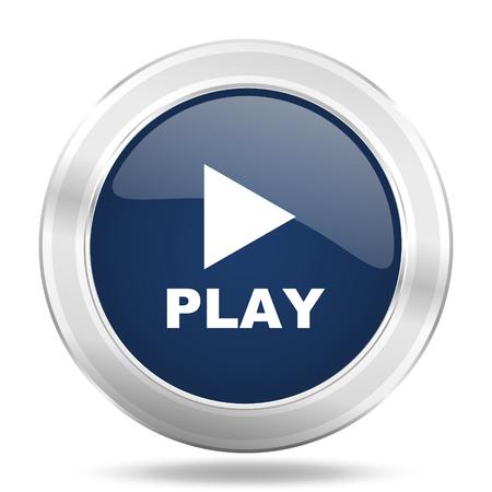 blue button: play icon, dark blue round metallic internet button, web and mobile app illustration