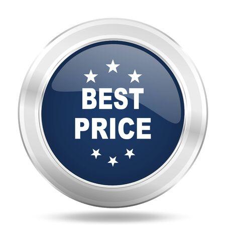 best price icon: best price icon, dark blue round metallic internet button, web and mobile app illustration