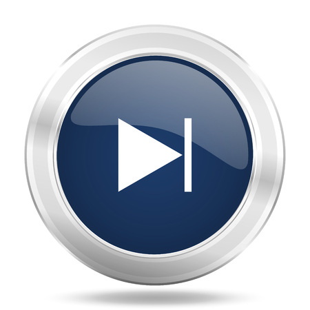 next icon: next icon, dark blue round metallic internet button, web and mobile app illustration