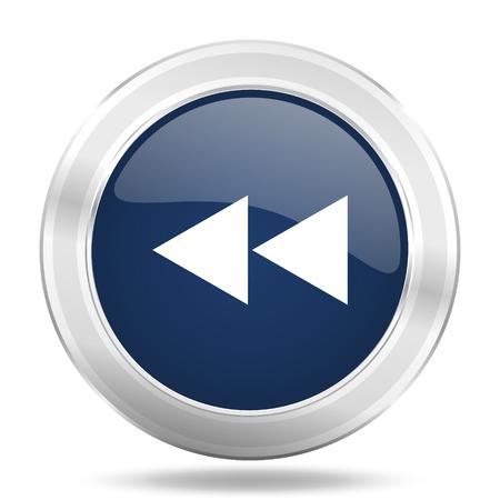 rewind icon: rewind icon, dark blue round metallic internet button, web and mobile app illustration