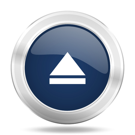 eject icon: eject icon, dark blue round metallic internet button, web and mobile app illustration Stock Photo
