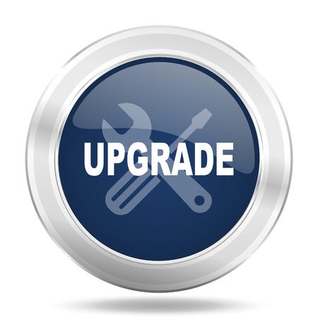 blue button: upgrade icon, dark blue round metallic internet button, web and mobile app illustration Stock Photo