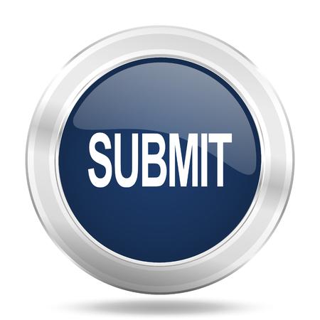 submit button: submit icon, dark blue round metallic internet button, web and mobile app illustration