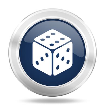 picto: game icon, dark blue round metallic internet button, web and mobile app illustration