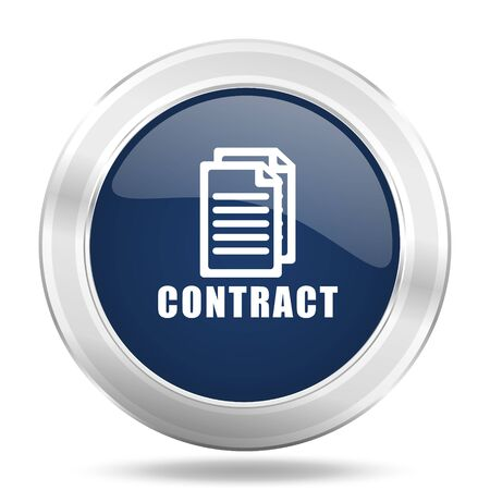 icom: contract icon, dark blue round metallic internet button, web and mobile app illustration Stock Photo