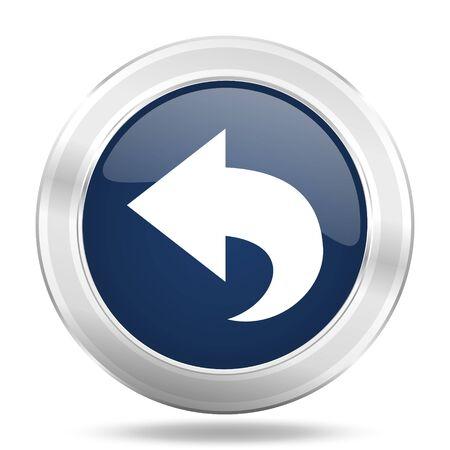 back icon: back icon, dark blue round metallic internet button, web and mobile app illustration