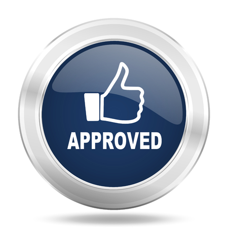 approved icon: approved icon, dark blue round metallic internet button, web and mobile app illustration Stock Photo