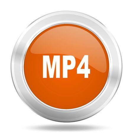mp4: mp4 orange icon, metallic design internet button, web and mobile app illustration