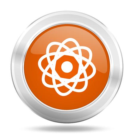 round button: atom orange icon, metallic design internet button, web and mobile app illustration Stock Photo