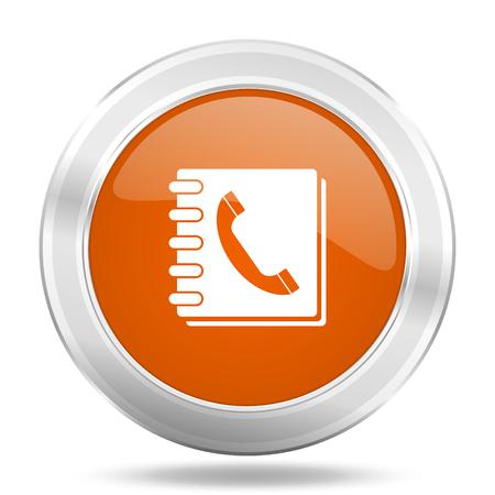 phonebook: phonebook orange icon, metallic design internet button, web and mobile app illustration