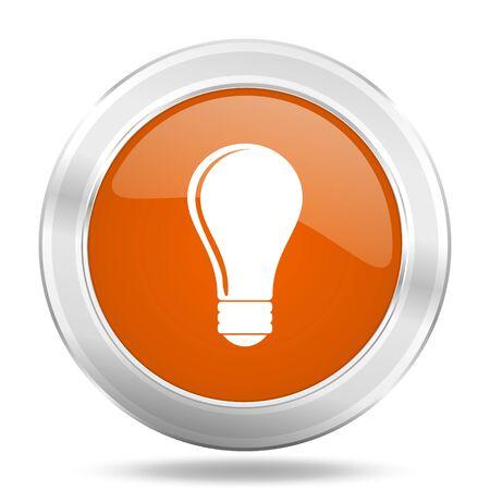 metal light bulb icon: bulb orange icon, metallic design internet button, web and mobile app illustration