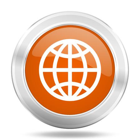 parallels: earth orange icon, metallic design internet button, web and mobile app illustration
