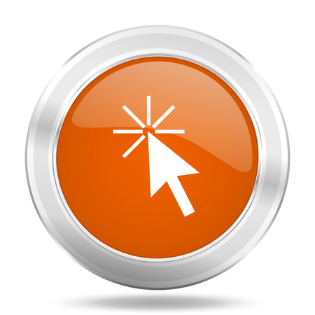 special steel: click here orange icon, metallic design internet button, web and mobile app illustration Stock Photo