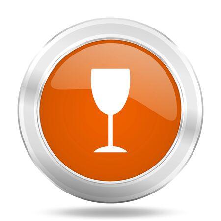 champain: alcohol  orange icon, metallic design internet button, web and mobile app illustration