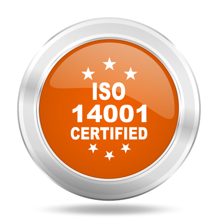 standard steel: iso 14001 orange icon, metallic design internet button, web and mobile app illustration