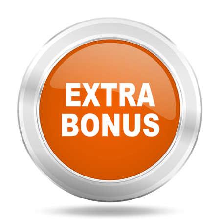 discounting: extra bonus orange icon, metallic design internet button, web and mobile app illustration