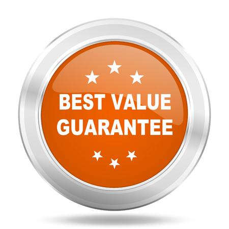 valor: best value guarantee orange icon, metallic design internet button, web and mobile app illustration