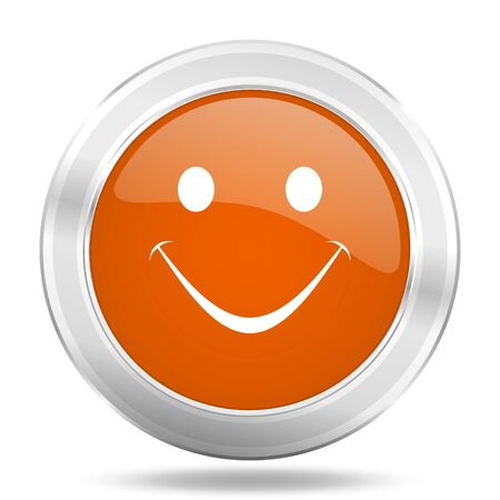 yea: smile orange icon, metallic design internet button, web and mobile app illustration