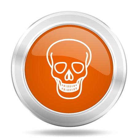 pirating: skull orange icon, metallic design internet button, web and mobile app illustration