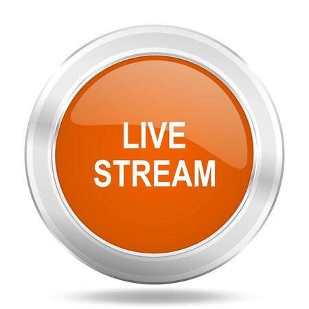 live stream button: live stream orange icon, metallic design internet button, web and mobile app illustration Stock Photo