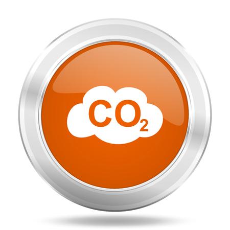 dioxido de carbono: icono de carbono dióxido de naranja, botón metálico de diseño web, web e ilustración de aplicaciones móviles