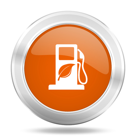 agro: biofuel orange icon, metallic design internet button, web and mobile app illustration