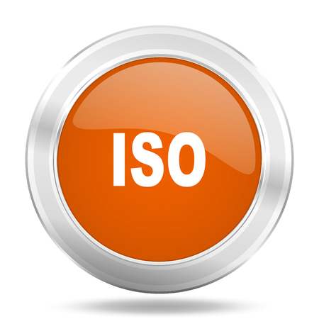 standard steel: iso orange icon, metallic design internet button, web and mobile app illustration Stock Photo