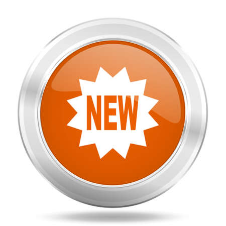 special steel: new orange icon, metallic design internet button, web and mobile app illustration