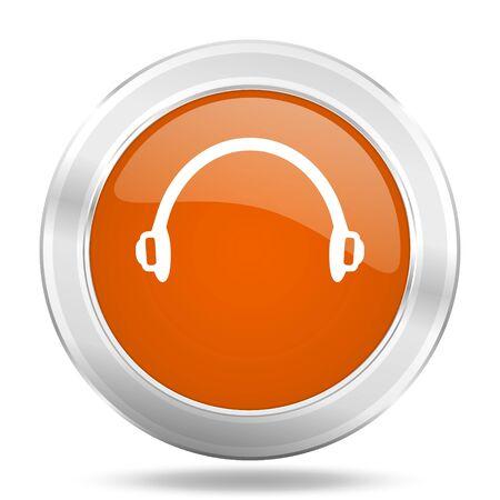 web button: headphones orange icon, metallic design internet button, web and mobile app illustration Stock Photo