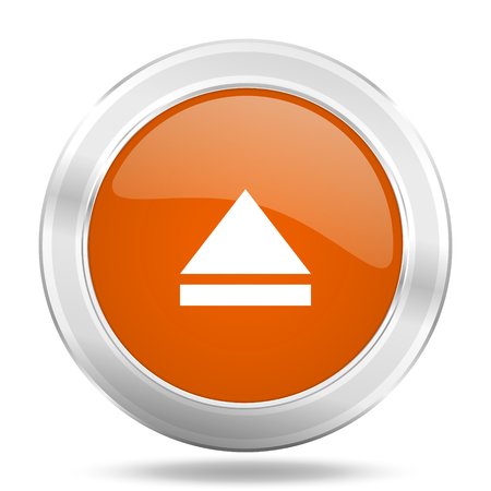 eject icon: eject orange icon, metallic design internet button, web and mobile app illustration
