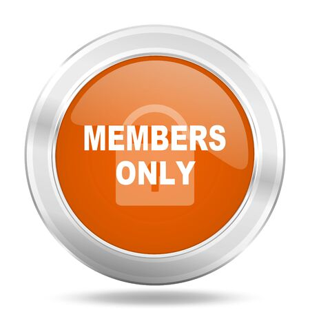 members only: members only orange icon, metallic design internet button, web and mobile app illustration