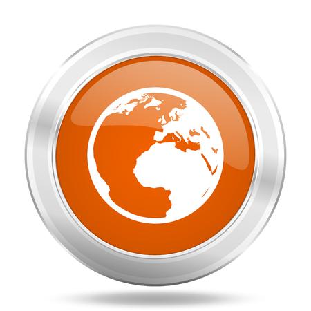 parallel world: earth orange icon, metallic design internet button, web and mobile app illustration