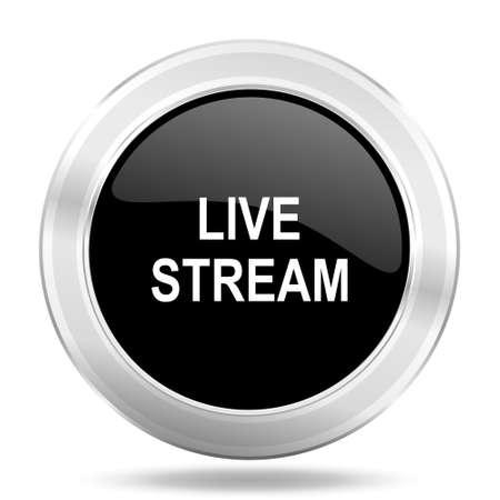 livestream: live stream black icon, metallic design internet button, web and mobile app illustration