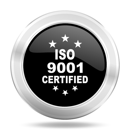 standard steel: iso 9001 black icon, metallic design internet button, web and mobile app illustration Stock Photo