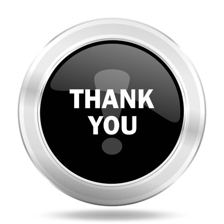 te negro: thank you black icon, metallic design internet button, web and mobile app illustration Foto de archivo
