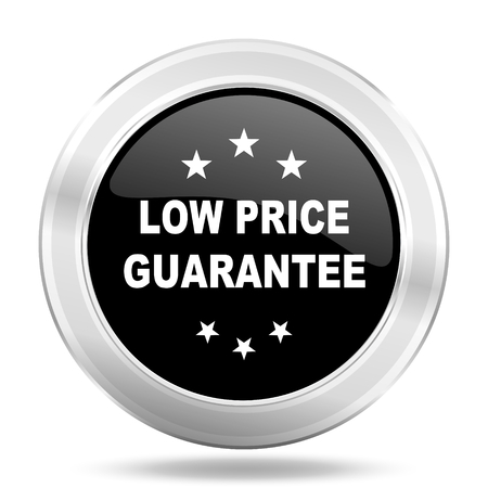 low price: low price guarantee black icon, metallic design internet button, web and mobile app illustration
